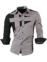 Jeansian Manga Larga De Los Hombres De Moda Slim Fit Camisas Men Fashion Shirts 8397