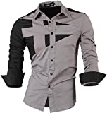 jeansian Herren Freizeit Hemden Shirt Tops Mode Langarmshirts Slim Fit 8397 Gray XL [Apparel]