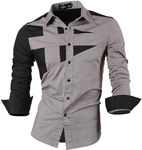 jeansian Herren Freizeit Hemden Shirt Tops Mode Langarmshirts Slim Fit 8397 Gray S [Apparel] (Gestreiftes Slim Hemd Fit)