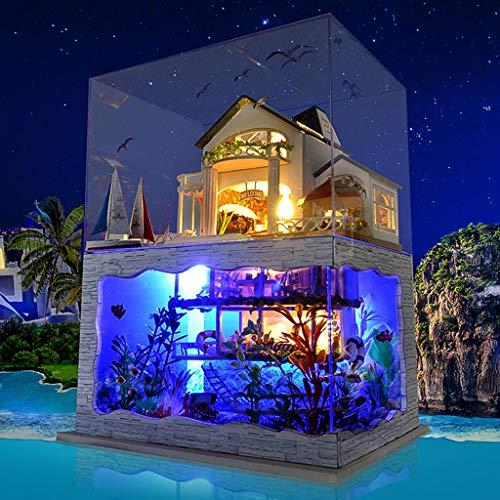 Holzhaus Möbel 3D Holz Miniaturhaus Kit mit LED Licht Kunsthandwerk Hawaiianische Villa Dekorationsstil Kreativ Geschenk Puzzle Spielzeug für Valentinstag, Kindertag, Geburtstag ()