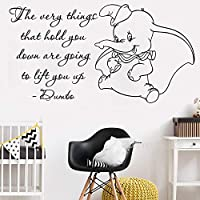 haochenli188 Cute Dumbo Quote Wall Stickers Kids Room Art Vinyl Mural Quality Removable Nursery Elephant Poster Wall Decals Home Deco 105x56cm