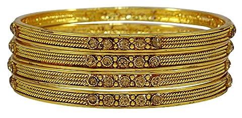 Matra Goldtone Ginni Coin CZ Pierre 4 pièces Kada Bangle Ensemble des femmes d'origine indienne 2 * 6 bijoux