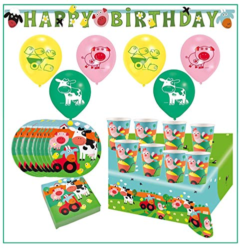 Libetui Kinder Geburtstag Dekoration & Geschirr Set 'Bauernhof' Happy Birthday Deko Bunte Partykette Luftballons Servietten Farm Fun (Mega Set)