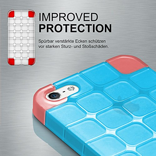 iPhone 6S Plus Hülle Silikon Transparent Clear [OneFlow Cube Back-Cover] Ultra-Slim Silikonhülle Dünn Handy-Hülle für iPhone 6 Plus / 6S + Plus Case TPU Schutzhülle AQUA-CYAN