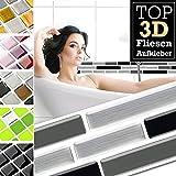 Grandora Fliesenaufkleber 5 Stück 27,9 x 4,3 cm schwarz grau Silber Ziegel Fliesenaufkleber Design 28 I 3D Mosaik Fliesenfolie Küche Bad Aufkleber W5423