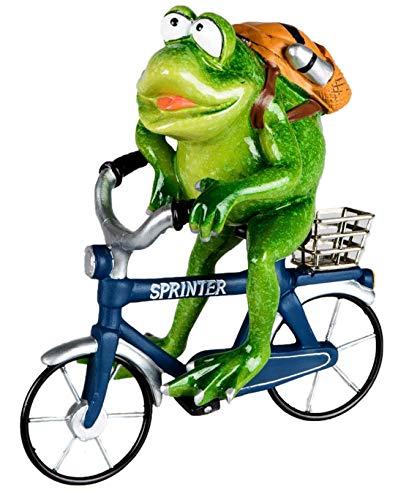 dekojohnson - Deko-Frosch-Figur lustiger Frosch Zierfiguren Fahrrad Blau Fahrrradkurier 16x18cm inkl Geschenkkarte