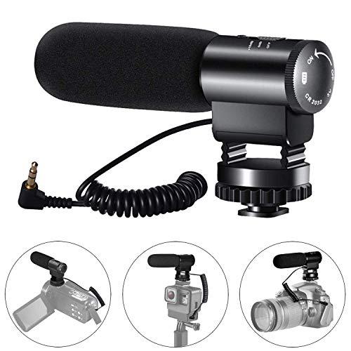 Kameramikrofon, Videoaufnahmemikrofon Professionelles externes Hypercardioid-Mikrofon an der Kamera für Nikon Canon DSLR-Kamera/DV-Camcorder