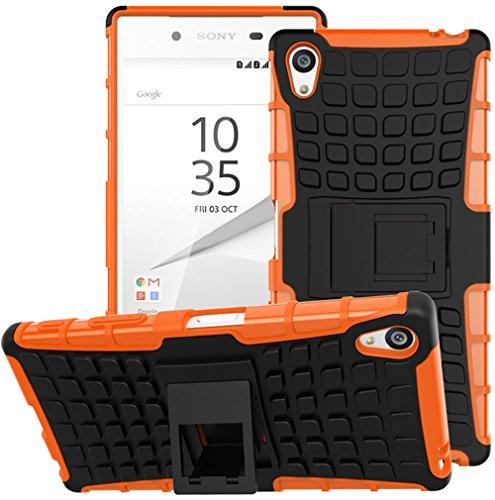 Sony Xperia Z5 Premium / Z5 Plus Hülle Nnopbeclik Hybrid 2in1 TPU+PC Schutzhülle Cover Case Silikon Rüstung Armor Dual Layer Muster Handytasche Backcover 360-Grad-Drehung ständer stoßfest Handy Hülle Tasche Schutz Etui Schale Bumper Pour Sony Xperia Z5 Premium / Z5 Plus 5.5 Zoll [Schwarz+Orange]