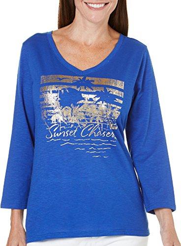 caribbean-joe-womens-three-quarter-sleeve-graphic-v-neck-tee-with-verbiage-coast-line-blue-large