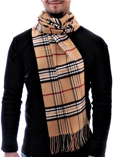 ADAMANT Climasoft Schal Herren | MADE IN GERMANY | verschiedene Muster, 180cm x 30cm - Modischer Schal für Business und Alltag (camel) (Herren-schal)