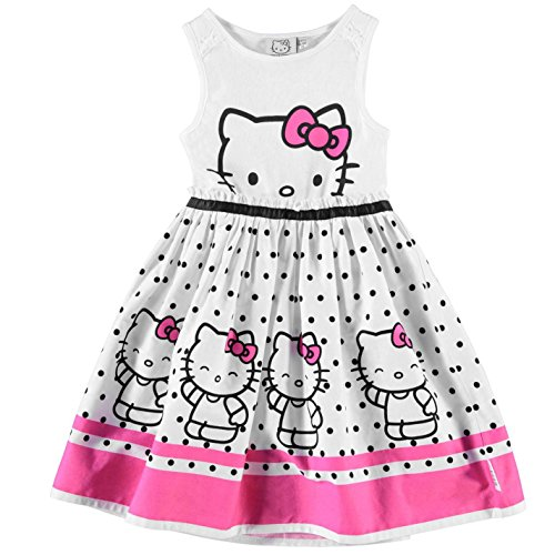character-tisse-enfant-filles-robe-decontractee-ete-sans-manches-midi-col-rond-hello-kitty-4-5-ans