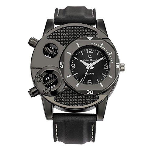 Uhren Herren Wasserdicht Sport Dünner Silikagel-Studenten trägt Quarz zur Schau Männer Edelstahl Business Fashion Armbanduhr Mann Runde Uhr (Black)