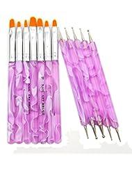 Mode Galerie 5pcs Violet Dotting Stylo Brosse Pinceaux Ongles Uv Gel Acrylique Accessoire