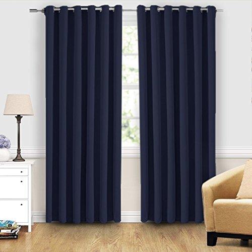 MASVIS Cortina opaca super suave aislante térmico con ojales para habitación oscurecimiento ventana tratamiento listo ojales cortina para salón dormitorio 2 paneles, azul marino, W90 X L90