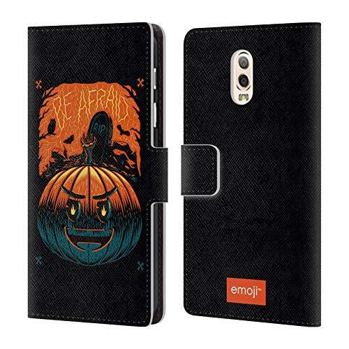 Head Case Designs Offizielle Emoji Kürbis Halloween Brieftasche Handyhülle aus Leder für Samsung Galaxy C7 (2017)