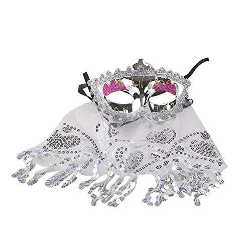 (SCLMJ Frauen-Spitze-Masken-Abschlussball-Partei-Masken Für Maskerade-Halloween-Kostüme Karnevals-Maske Für Anonymes Mardi, Silber)