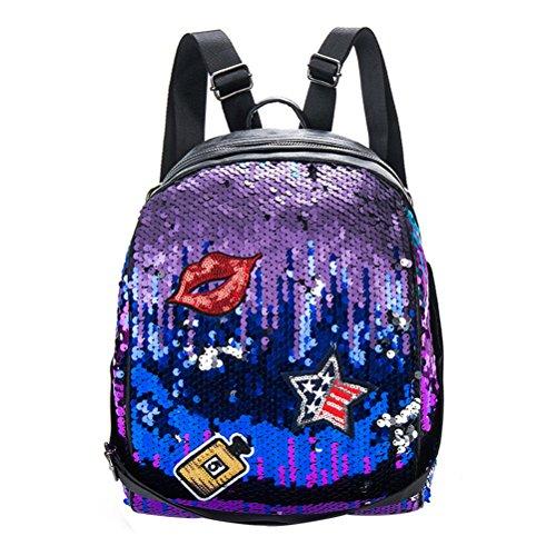 Tinksky Bling Sequins paillette zaino borsa casual Daypacks borse regalo di Natale per amici Ragazze Donne (viola)