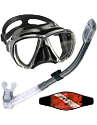 Cressi Big Eyes Mask with Dry Snorkel Combo, All Black