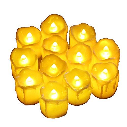 12 Pack LED Flackernde Teelichter,Flammenlos Kerze Bewegliche Flamme und die letzten 60 Stunden,Elektrische Teelichter Ideal für Feiern Main Dekorationen