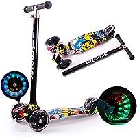 Dreiradscooter Kickscooter Kleinkinder Höhenverstellbar T-Bar mit Blinkenden LED-rollen Kinder Roller für Jungen / Mädchen ab 5-12 Jahre, Gelb