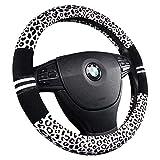 Universal Auto Lenkrad Abdeckung Ärmel Handschuh Winter Warm Soft Lenkrad Leopard Print Mode Plüsch Universal Fit 38 cm