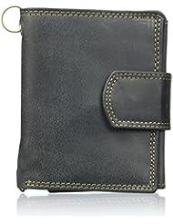 Biker Portefeuille pour homme et femme avec la chaîne et fermeture extérieure Vintage-Style (compris la boîte-cadeau) LEAS MCL, cuir véritable, noir - ''LEAS Chain-Series''