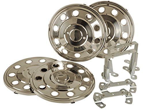 16-pollici-Copricerchi-Set-4-pezzi-in-acciaio-inox-fahrzeugspezifisch-per-zwillingsbereifte-Camper-e-furgoni