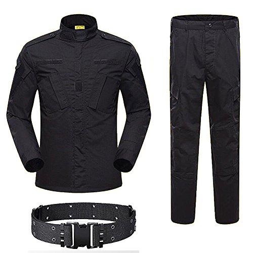 H mundo compra hombres táctico BDU Chaqueta de uniforme de combate Camisa y pantalones traje para ejército militar Airsoft Paintball caza juego de guerra negro