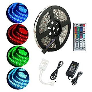 ALED LIGHT® Wasserdicht IP65 LED Strip,LED Streifen, LED Band, 5M 5050 300 LED SMD (60 LED/Meter) RGB + 44 Key Fernbedienung+Netzteil 12V 6A + Empfänger + Produktbeschreibung