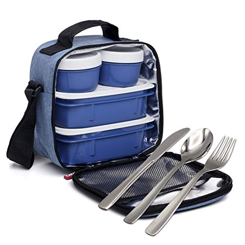 PracticFood Kit Posate per Alimenti Urbani - Borsa Termica per Alimenti. (Posate Denim Blu)