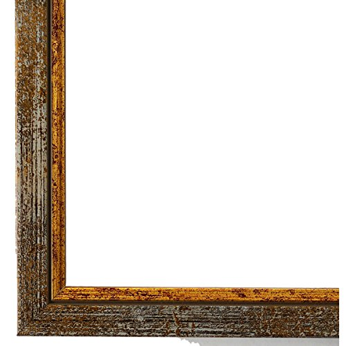 Bilderrahmen Grau Gold DIN A3 (29,7 x 42,0 cm) cm - Modern, Klassisch - Alle Größen - handgefertigt - Galerie-Qualität - WRF - Sanremo 1,8 -