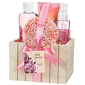 Freida & Joe – Bade Geschenkset in heller Holzschachtel mit rosa Pfingstrosen Design