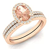 DazzlingRock Collection  -  10 K Rotgold Ovalschliff Rundschliff I-J pink/rosa Diamant Morganite
