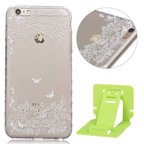 Apple iphone 6 Plus Hülle, iphone 6s Plus 5.5 Zoll Silikon Gel Schutzhülle, Ekakashop iphone 6s plus Weiche TPU Ultradünn Slim-Fit Smartphone Handyhüllen Tasche Back Cover Bumper, Transparent Crystal  Schmetterling und Blume