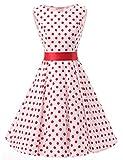 VKStar® 50er 60er Retro Kleider Damen mit Tupfen Abendkleid Vintage Damen Rockabilly Ballkleid rote Punkte L