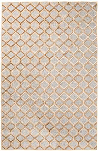 Tapiso Bohemian Teppich Modern Kurzflor Gold Braun Grau Geometrisch Marokkanisch Karo Designer Muster Wohnzimmer ÖKOTEX 160 x 230 cm