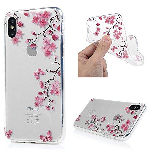 MAXFE.CO Schutzhülle Tasche Case für iPhone X TPU Silikon Cover Gemalt Etui Protective Schale Bumper Blätter + Pferd + Löwenzahn Hamburger + Donuts + Blumen