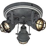 Vintage LED Spotrondell / Deckenleuchte im Industrial Used-Look, 3x 4W GU10 LED inkl., 3x 350 Lumen, 3000K warmweiß, Metall, grau Beton