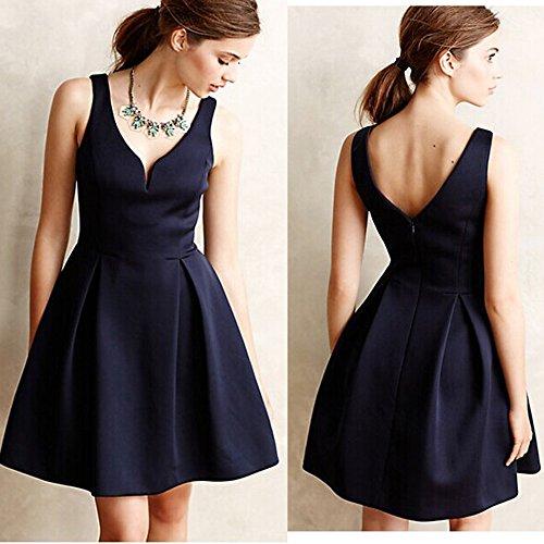 BININBOX Damen sexy Kleid mit V-Ausschnitt rückenfrei ärmelloses Partykleid Club-Wear Ball-Abendkleid Dunkelblau