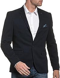 BLZ jeans - Veste de costume homme navy à motifs et coudières