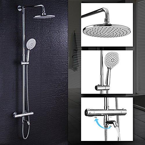 Hausbath Regal Duschsystem Sets mit Thermostat Duschset mit Rainshower Duscharmatur Handbrause Duschkopf Regendusche Dusche Armatur Badewanne Badezimmer (Rund Thermostat mit Wasserhahn)