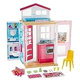 Barbie Mobilier coffret maison 2 étages et 4 pièces avec accessoires, jouet pour...