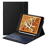 iPad Mini 5 Tastatur,Mini 5 Tastatur Flip Schützend Case,[Schlafen/Wachen Smart] [Stifthalter] [PU Folio Stand] Drahtlose Bluetooth Tastatur(Deutsch) für das iPad Mini 5 (2019),schwarz