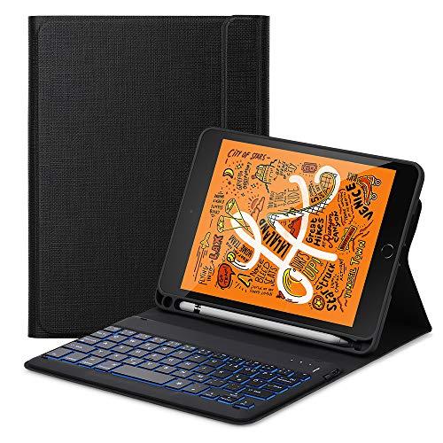 ,Mini 5 Tastatur Flip Schützend Case,[Schlafen/Wachen Smart] [Stifthalter] [PU Folio Stand] Drahtlose Bluetooth Tastatur(Deutsch) für das iPad Mini 5 (2019),schwarz ()