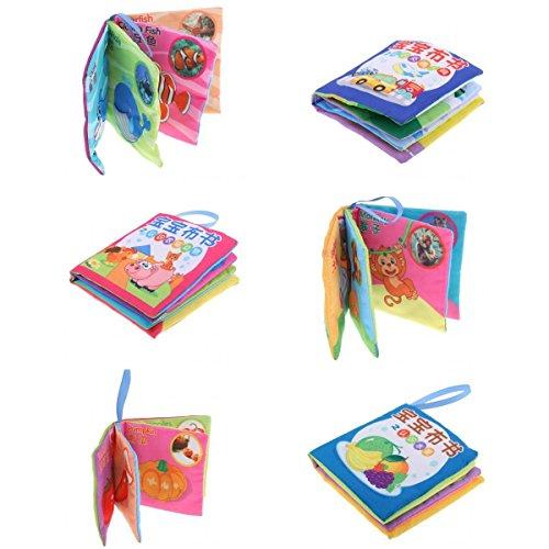 Homyl 6pcs Baby Stoffbuch Tuchbuch, Englisch und Chinesisch Erkennungsbuch, 8 Seiten pro Buch, Pädagogisches Spielzeug für Kinder 0-3 Jahre alt
