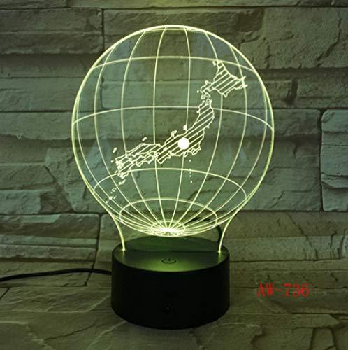 Joplc Japan karte 3d nachtlicht led acryl stereo vision dekor lampe usb schlafzimmer nachtlicht schreibtisch tischlampe