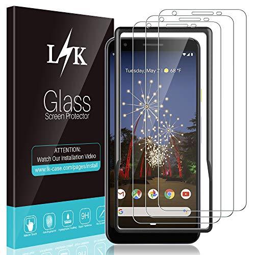 L K 3 Stücke Schutzfolie für Google Pixel 3a, Pixel 3a Panzerglas [Bubble Free] [Ausrichtungsrahmen Einfache Installation] [Lebenslanger Ersatz Garantie] HD Klar Gehärtetem Glas -