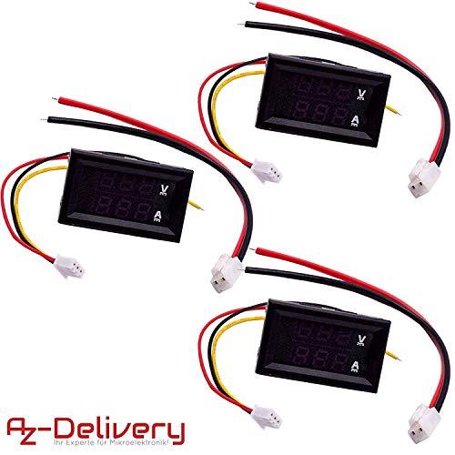 AZDelivery 3 x Voltmeter Amperemeter Modul DSN-VC288 mit LED Display für Arduino und Raspberry Pi