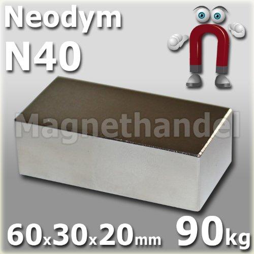 2 Neodym Magnete 60x30x20 mm NdFeB N40 NiCuNi vernickelt - Haftkraft ca. 90 kg -