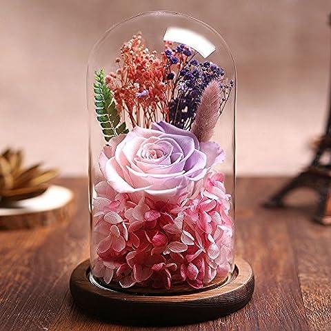 Couvercle en verre Fleur Rose éternelle la Saint Valentin cadeau